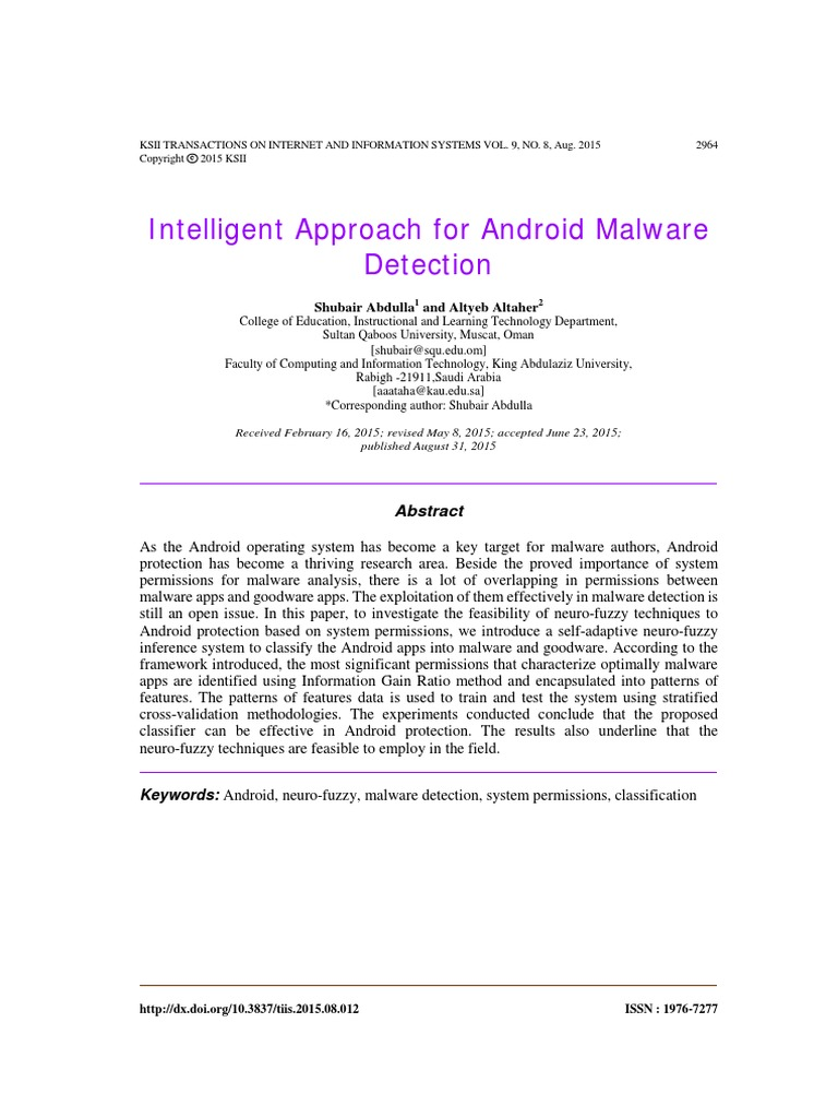 Intelligent Approach for Android Malware Detection