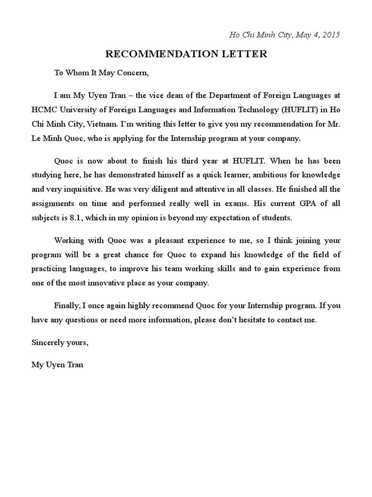 Recommendation Letter Le Minh Quoc