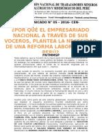 COMUNICADO N° 05 – 2016- CEN- FNTMMSP