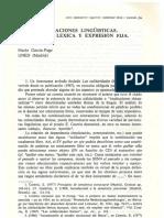 Sobre Implicaciones Linguisticas. Solidaridad Lexica y Expresion Fija. Garcia Page