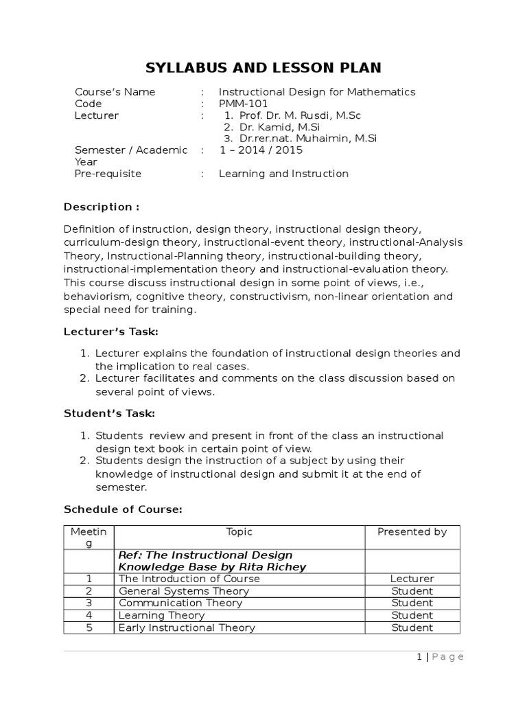 Course Description Of Id For Mathematics Instructional Design