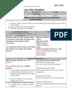 lesson plan 4 shapes