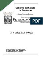 Ley de Arancel de Los Abogados Zacatecas