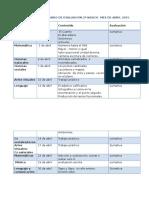 Calendario de Evaluacion 2º Basico Mes de Abril 2015