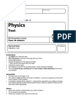 Edexcel GCSE (9-1) Physics SP3 Conservation of Energy Test With Mark Scheme 16_17