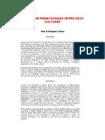 L'Ecrivain Francophone Entre Deux Cultures