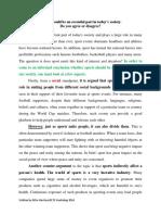 Discursive Essay Sample- Sports