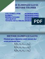 Metode Eliminasi Gauss & Metode Cramer