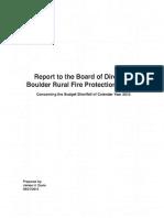 Boulder Rural Fire Department Budget Shortfall Report