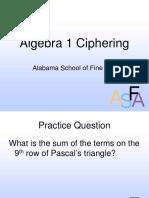 Algebra I Ciphering 2009