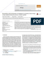 Recognition and Prioritization of Challenges in Growth of Solar Energy Using Analytical Hierarchy Process