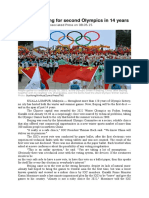 9.1B Exercise and Sport Kazakhstan in Large Sport Events READING TEXT MAXIMUM LEXILE