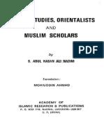 English Islamic Studies Orientalists and Muslim Scholars