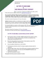 60 Tips to Become Good Regulatory Expert