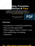 """Publishing, Promotion, Peer-Review & Pizza for MURSA's """"Research. Publish. Pizza."""" event."""