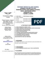 CGVC May 10 Agenda