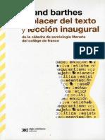 Barthes - El placer del texto y lección inaugural