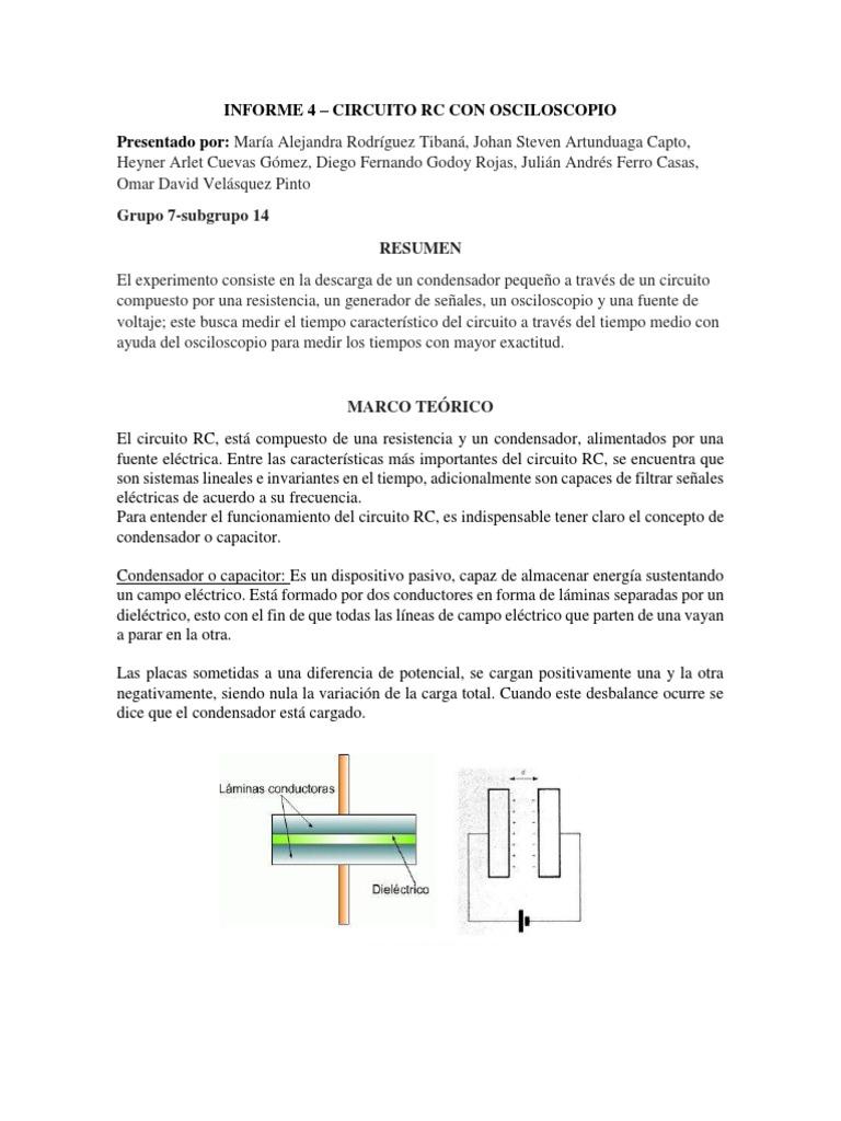 Circuito Rc : Informe 4 circuitos rc con osciloscopio