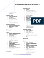 Planejamento Anual Conteúdos de Matemática 8º Ano EF