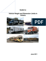 2011 Guide to Vehicle Weight and Dimension in Ontario