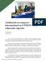 21/10/16 Analizarán en Congreso Internacional en UNISON Temas Educación Superior - Crítica