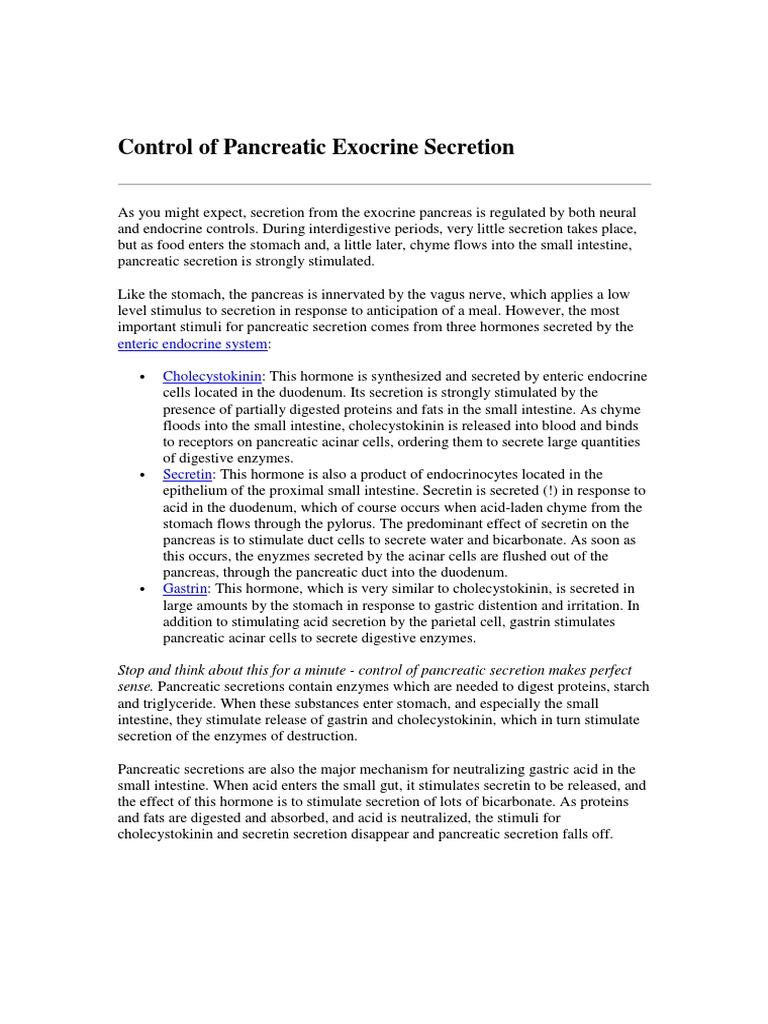Control Of Pancreatic Exocrine Secretion Pancreas Digestion