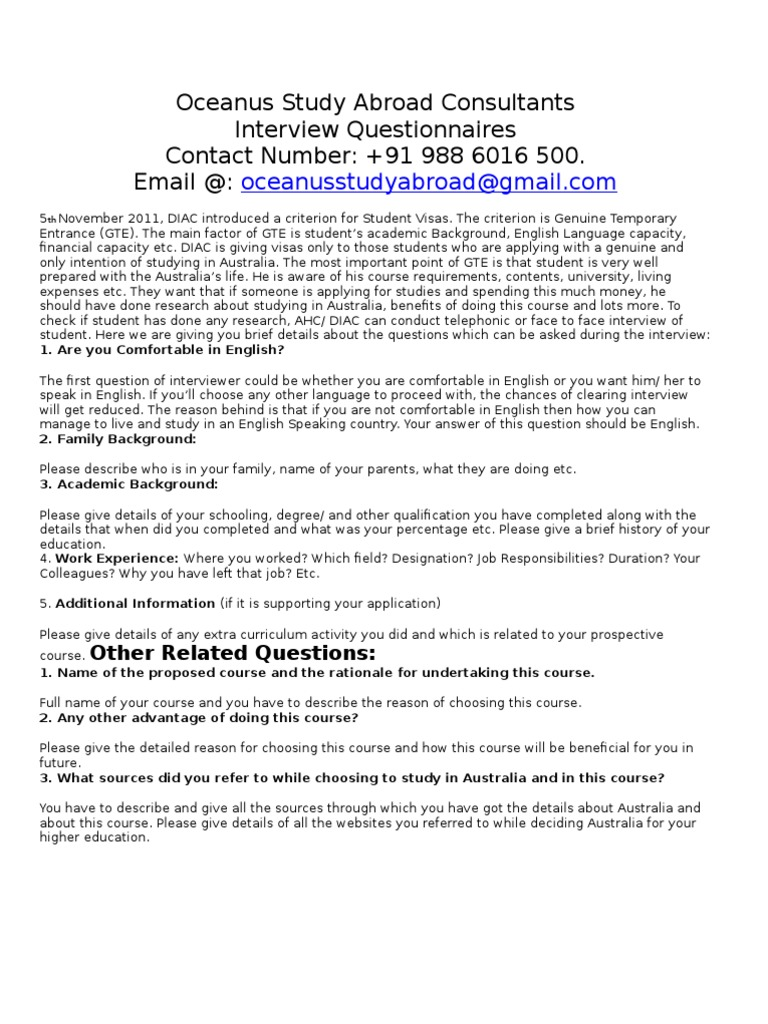 interview questionaire diploma masters degree