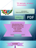 ORGANIZACIÓN Y  ADMINISTRACIÓN  DE DOCUMENTOS CON SCRIBD, CALAMÉO, SLIDESHARE