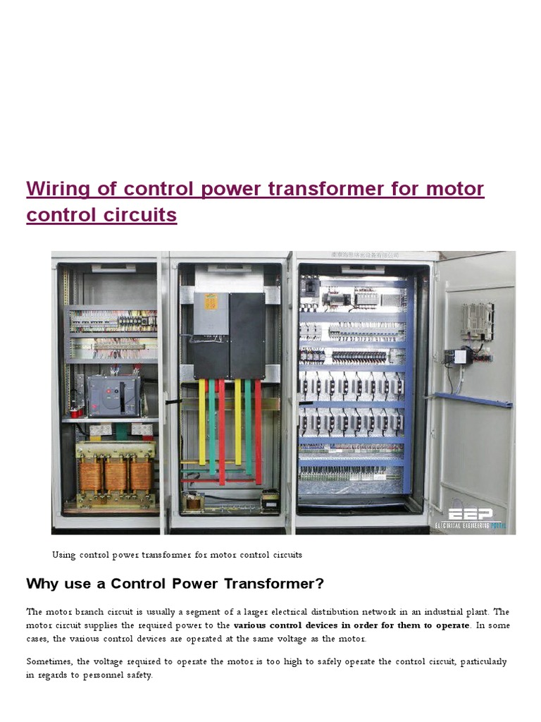 Wiring Of Control Power Transformer For Motor Circuits Machine Alternating Current