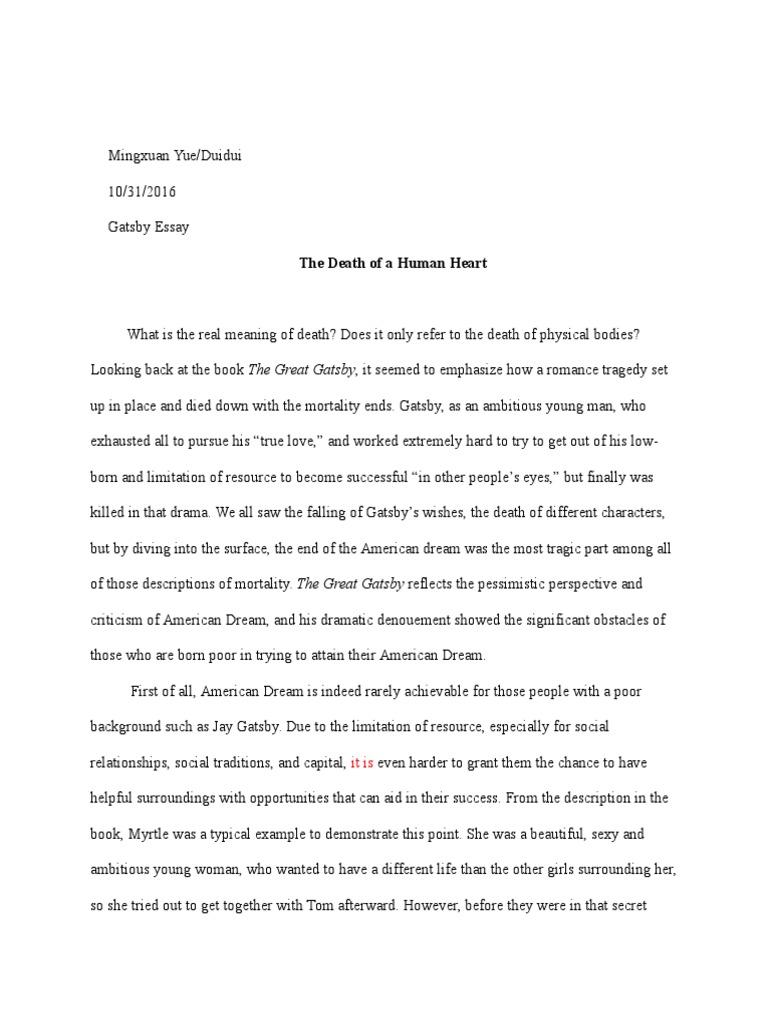 great gatsby death american dream essay