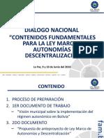 Contenidos fundamentales para la Ley Marco de Autonomías y Descentralización