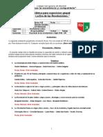 Rubrica para exposicion. 8° Basico A. San Ignacio.2016