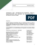 NCh 2423-2.Of2001 Artefactos a Gas - Condiciones de Instalacion - Parte 2