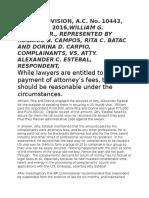 AC No. 10443 William G. Campos Jr. v. Atty. Alexander C. Estebal 08.08.16 (Reasonable Atty. Fees)
