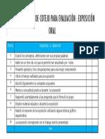 Criterios de Evaluacion Para La Exposicion Oral