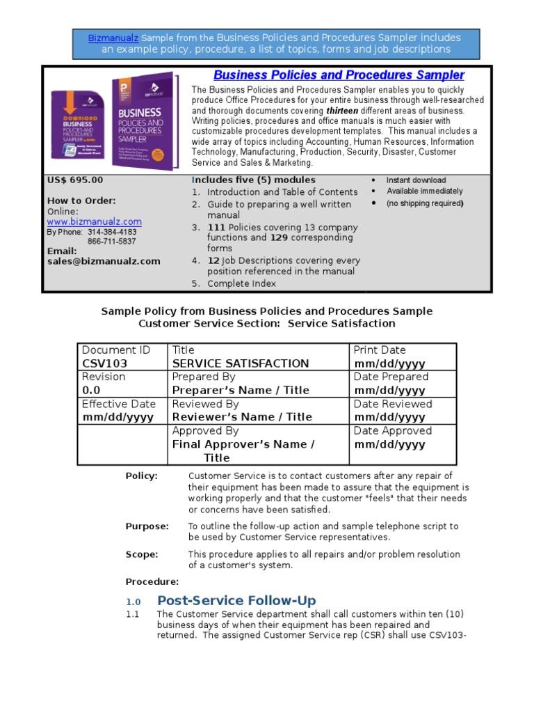 Bizmanualz Business Policies and Procedures Sampler | Cheque | Employment