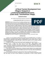 Factor Analysis of Rural Tourism Development