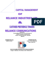 Final Project Report on working capital mgt of RIL and customer preference toward Reliance Communications