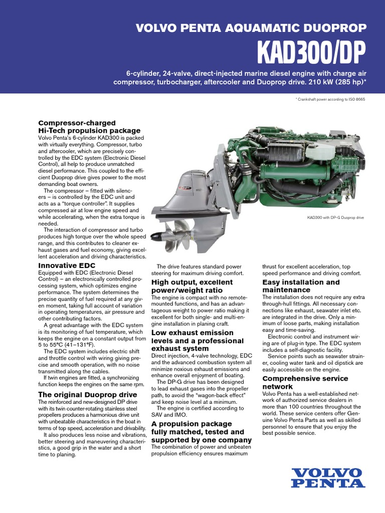 volvo penta kad300 turbocharger diesel engine rh es scribd com Volvo Penta Lower Unit Volvo Penta Control Box