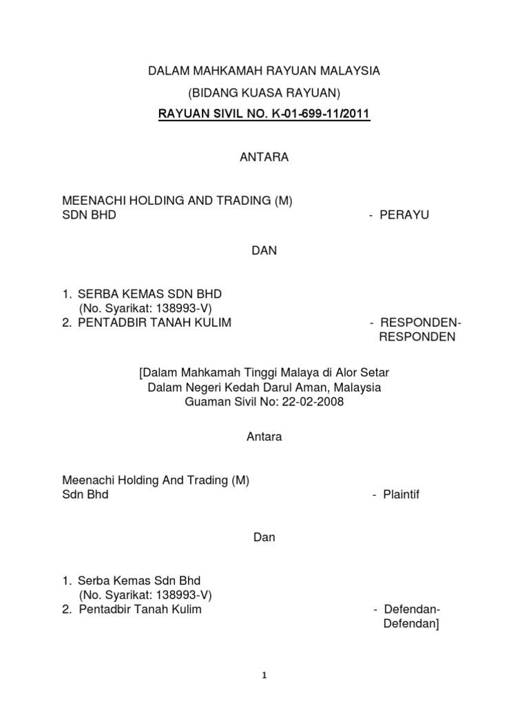 Meenachi Holding Vs Pentadbir Tanah Kulim Lawsuit Separation Of