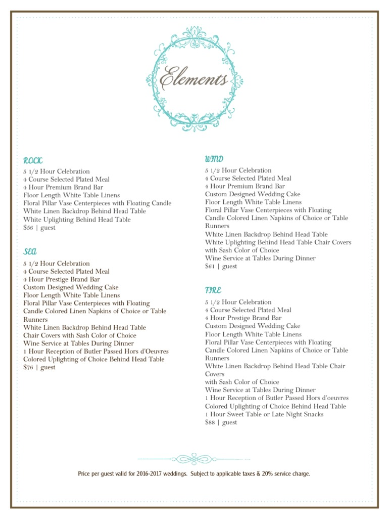 Wedding Reception Packages Pdf