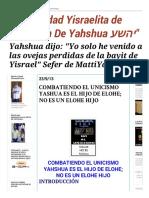 """""""Comunidad Yisraelita de Talmidim de Yahshua יהשע"""""""