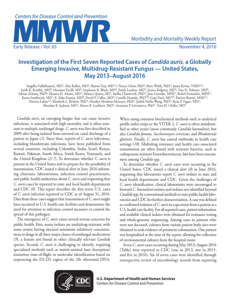 Investigation Of The First Seven Reported Cases Of Candida Auris - Map of us candida auris infections