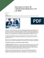 Recomendaciones Para El Cierre de Auditorías de Información Financiera a 31 de Diciembre de 2011