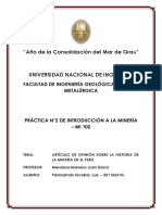 Artículo de Opinión, Historia de La Minería en El Perú