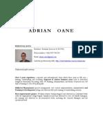 Adrian Oane - Resumee