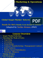 Lecture~5 Global Target Market selection and Entry Strategies