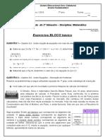 Lista Revisão Matematica 7 Anos III Trimestre