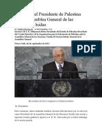 Discurso Del Presidente de Palestina