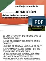 1-DeSAPARICIÓN. Primera Situación Jurídica de La Ausencia. Actos Jurisdiccionales. Medidas Precautorias